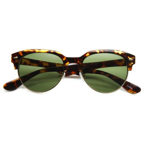 Vintage European Dapper Half Frame Round Wayfarer Sunglasses 8819                             zeroUV