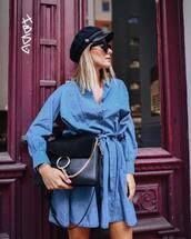 dress,midi dress,denim dress,v neck dress,handbag,fisherman cap