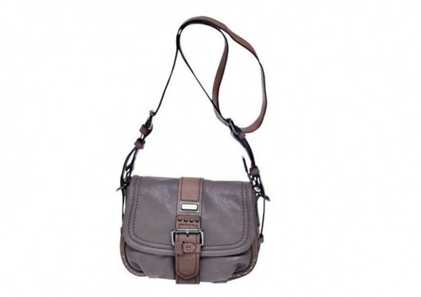 Bag: grey leather bag, little shoulder bag, little grey bag ...