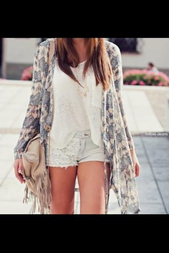 blouse white shorts jacket lace shorts