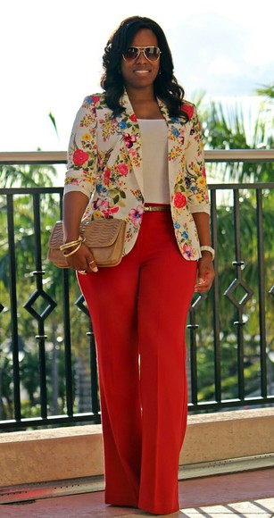 jacket blazer pants fashion floral spring