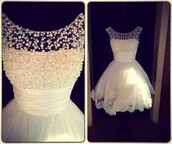 dress,short prom dress,white dress,beautiful white dress,blouse,short dress,prom dress,beautiful,cute dress,lace,fashion,cute,prom,pearl,white,ball,pearls beaded,elegant white dress,pearl dress,sweetheart dress,perlen,style,lovely pepa,clothes,white dress with pearl,robes blanche