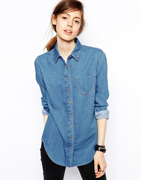 ASOS | ASOS Denim Shirt in Retro Mid Wash at ASOS