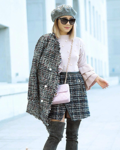coat tumblr plaid tweed grey coat sweater pink sweater knitwear knit knitted sweater embellished skirt mini skirt boots bag pink bag beret sunglasses