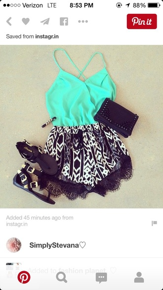 romper outfit black and white style spahgetti straps shorts top blouse shoes