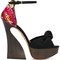 Charlotte olympia - 'vreeland' sandals - women - calf leather/leather - 37, women's, black, calf leather/leather