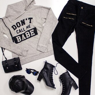 sweater outfit outfit idea booties hat purse clutch jeans black pants black jeans grey sweatshirt gojane