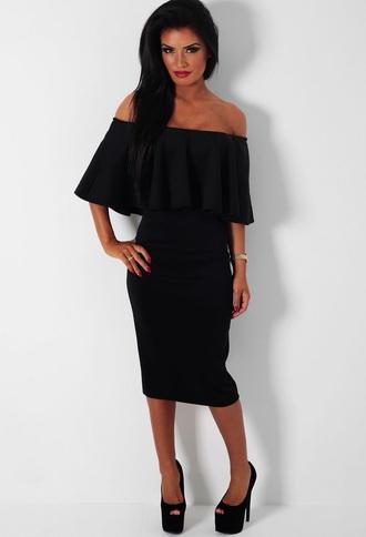 dress black bodycon fashion frill off the shoulder offshoulder black dress bodycon dress