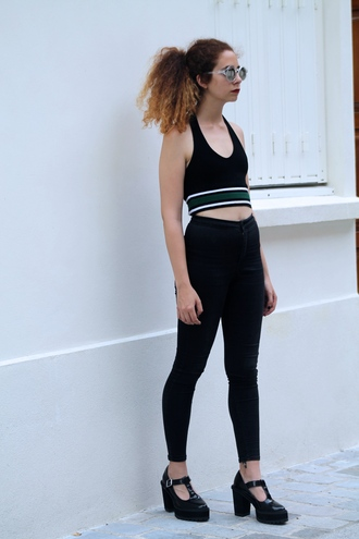 babes in velvet blogger top topshop crop tops high waisted pants
