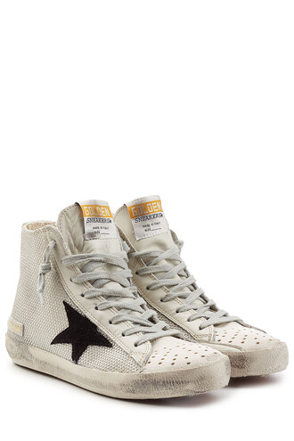 mesh high sneakers leather white shoes