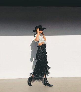 top skirt black skirt long skirt boots black boots hat black hat