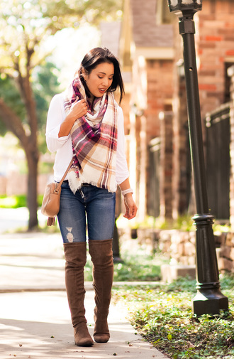 cute & little blogger shoes top belt leggings jeans scarf bag jewels fall outfits crossbody bag boots over the knee boots