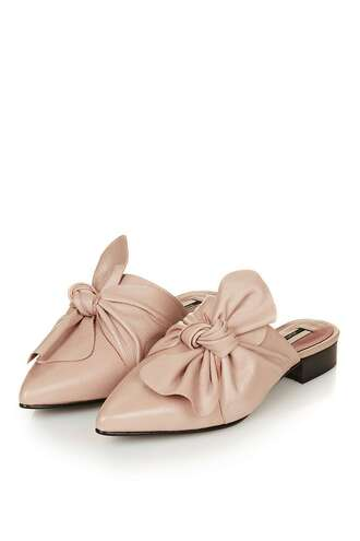 shoes mules want need bow shoes nude shoes