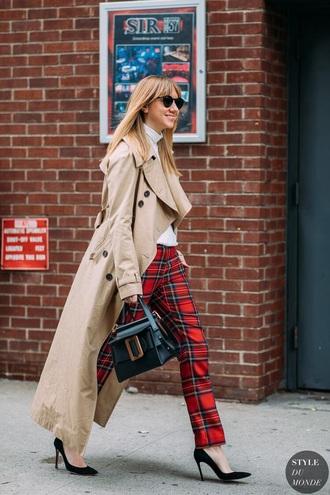 pants reduce pants tartan pants heels coat camel camel coat tartan pumps trench coat