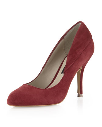 Boutique 9 Justine Suede Pointy-Toe Pump, Red - Neiman Marcus Last Call