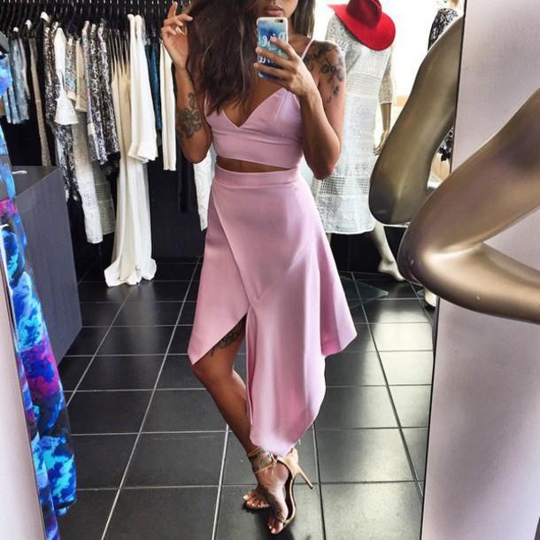 dress two part pink crop tops maxi skirt skirt top
