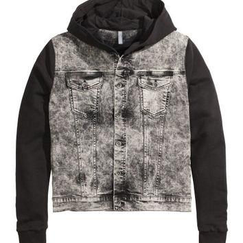 Hooded Denim Jacket - from H&M on Wanelo