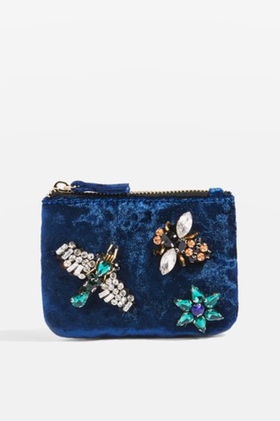 Topshop embellished purse navy blue bag