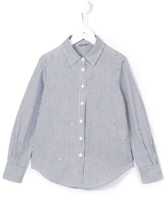shirt striped shirt girl toddler embellished blue top
