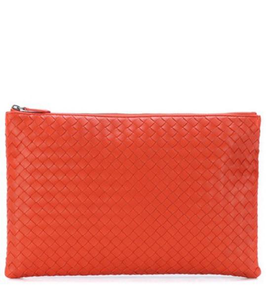 Bottega Veneta leather clutch clutch leather orange bag