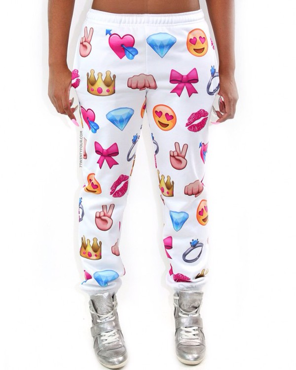 emoji print emoji print emoji pants white emoji pants white sweatpants jumpsuit pants leggings