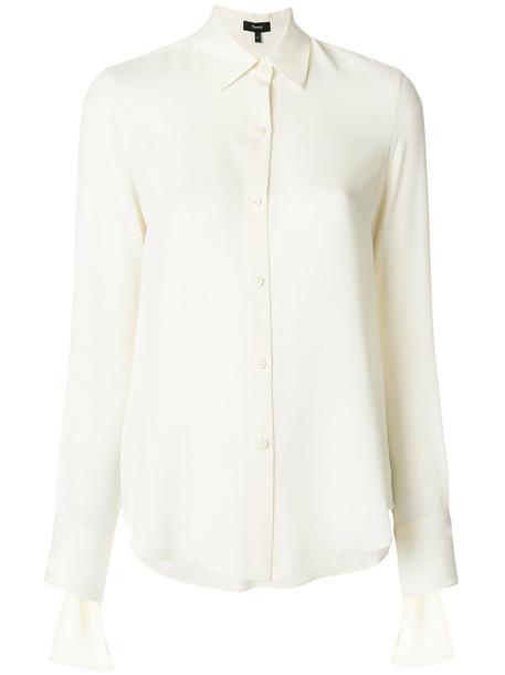 theory shirt women classic white silk top