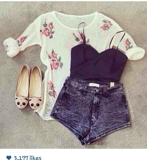 blouse floral summer top layers girly bralette shorts shoes