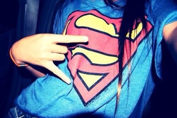 sweater shirt superman girl clothes superwoman blue t-shirt superman shirt