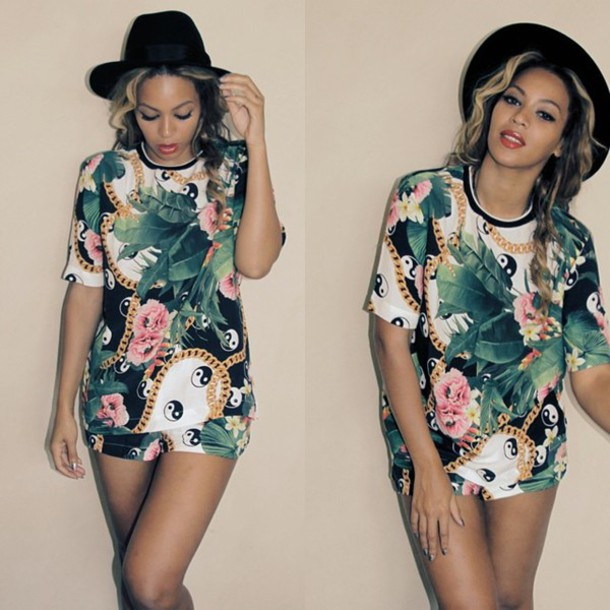 1663b5a93c96 tropical floral hat beach summer outfits beyonce floral dress shorts t-shirt  floral t-