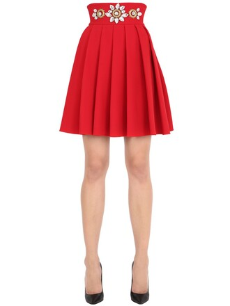 skirt pleated skirt high waisted pleated high embellished red