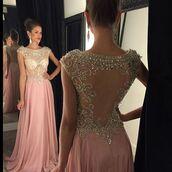 dress,2016 prom dress,sheer,pink,beaded