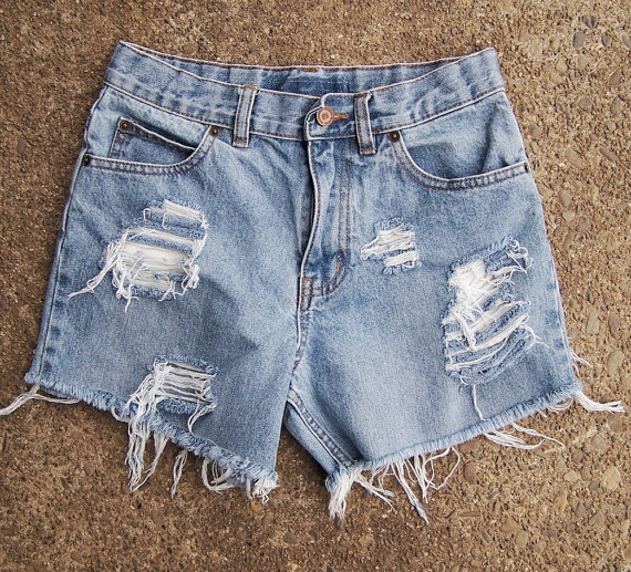 denim high waisted booty shorts grunge by GloriousMorn