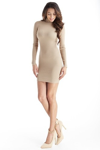 dress turtleneck high neck long sleeves mini tight bodycon sexy fall outfits trendyish
