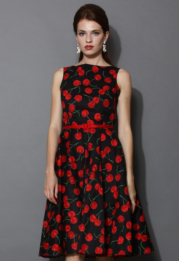 chicwish cherry pie belted midi dress