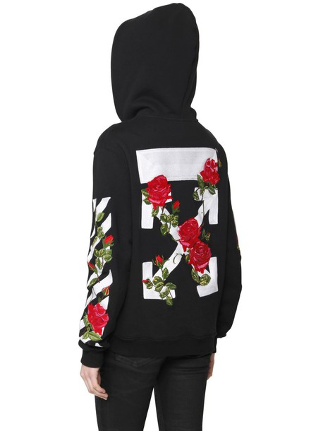 87e9e2e191a2 OFF WHITE OFF WHITE Rose Embroidery Zip-up Cotton Sweatshirt in black   red    white