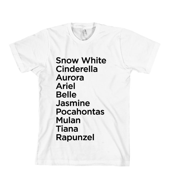 Princess Names TShirt  American Apparel Unisex Sizes by Cakeworthy