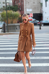 brooklyn blonde,coat,bag,shoes,sunglasses,jacket,camel coat,double breasted,beige coat
