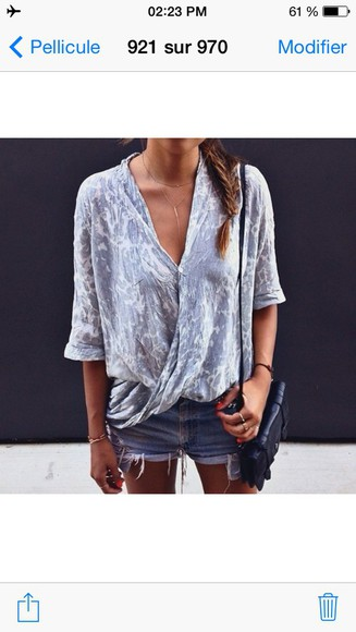 girl blouse grey short perfect