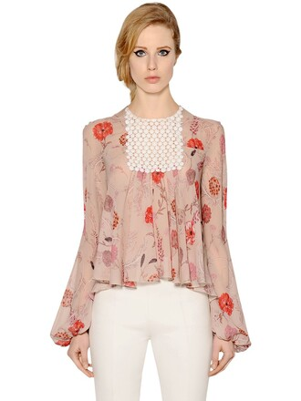 shirt silk pink multicolor top