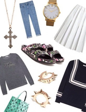 bag jeans gold watch watch jewels sweater oversized sweater sandals flowered shoes high waisted skirt white blue beautiful clothes