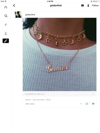 jewels necklace moon and sun pretty cute chain choker necklace gold white top fashion jewelry love style stars moon zodiac zodiac necklace horoscope horoscope necklace zodiac signs dainty necklace script script necklace gold choker