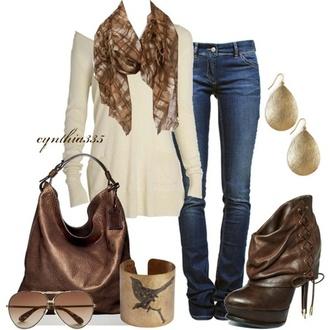 sweater bag scarf jeans earrings boots high heels bracelets sunglasses