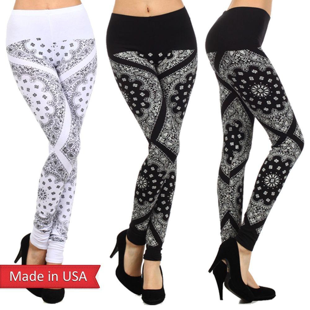 Bandana Paisley Graphic Print Black White Cotton Blend Leggings Tights Pants USA