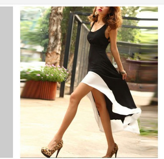 dress black summer high low heels pretty spring white straps stripes flowy