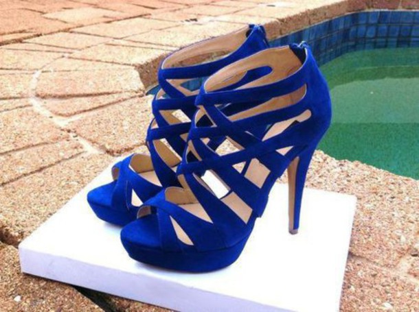 shoes high heels blue velvet strappy heels zipper heels peep toe heels