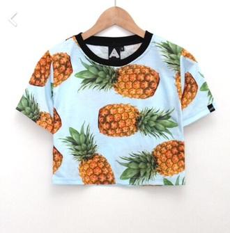 top shirt t-shirt blue green yellow dope pineapple print