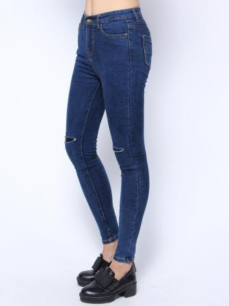 Slit knee slim pants