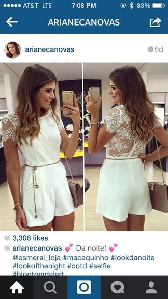 jumpsuit white lace romper dress cocktail evening dress