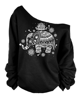 sweater sweatshirt black elephant tribal pattern indian tribal elephant sweatshirt black sweatshirt black sweater off the shoulder off the shoulder sweater off the shoulder sweatshirt shirt black shirt white elephant slouchy slouchy sweatshirt etsy beautiful tumblr pinterest rue 21 cute pretty summer cute sweatshirt matching top top it has a tribal pattern slouchy sweater outfit tumblr outfit
