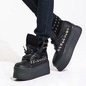 shoes,heels,platform shoes,high heels,black,boots,harajuku,spikes,rock,leather,lace up